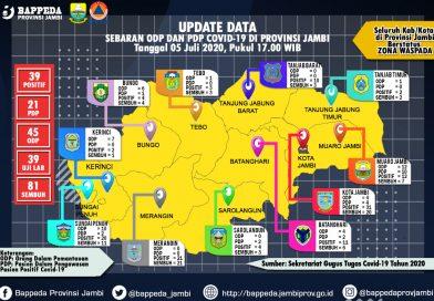 Update Per 5 Juli 2020: Total Pasien Positif Covid-19 Jambi 120 Orang, Pasien sembuh 81 Orang