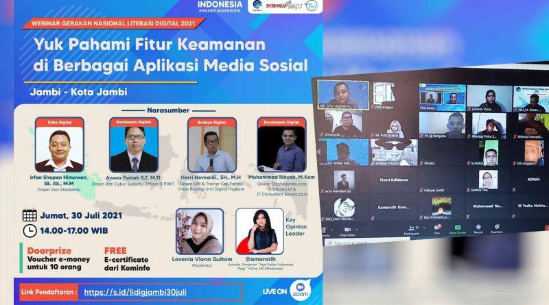 """""""Yuk Pahami Fitur Keamanan di Berbagai Aplikasi Media Sosial"""" Jadi Tema Webinar Literasi Digital Kota Jambi"""