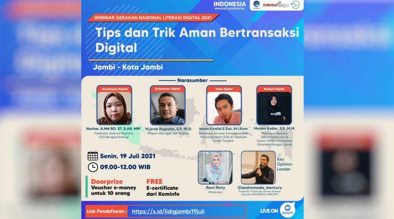 """Warga Kota Jambi Antusias Ikuti Webinar Literasi Digital 2021 """"Tips dan Trik Aman Bertransaksi Digital"""""""