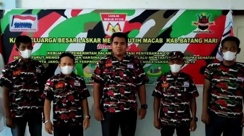 Perangi Penyebaran Covid-19, PC Laskar Merah Putih Kabupaten Batanghari Dukung Vaksinasi